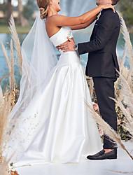 cheap -Two Piece A-Line Wedding Dresses Strapless Sweep / Brush Train Chiffon Over Satin Sleeveless Beach Boho Sexy with 2021