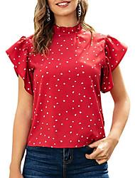 cheap -Women's Polka Dot Blouse Daily Black / Red