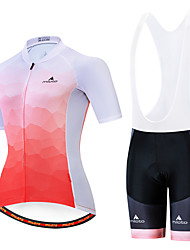 cheap -Miloto Women's Short Sleeve Cycling Jersey with Bib Shorts White Black Bike Breathable Sports Patterned Mountain Bike MTB Road Bike Cycling Clothing Apparel / Stretchy