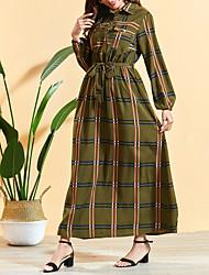 cheap -Women's Maxi A Line Dress - Long Sleeve Print Pocket Summer Fall Square Neck Elegant Boho Daily Going out Lantern Sleeve 2020 Army Green M L XL XXL / Cotton