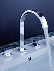 cheap -Bathroom Sink Faucet - Rotatable / Widespread / Waterfall Chrome Deck Mounted Two Handles Three HolesBath Taps