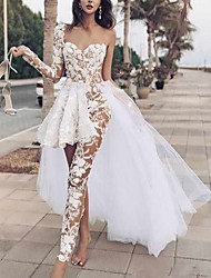 cheap -Two Piece Jumpsuits Wedding Dresses One Shoulder Floor Length Lace Tulle Long Sleeve Beach Sexy See-Through with Pleats Embroidery Appliques 2020
