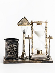 cheap -Creative retro hourglass night light nostalgic pen holder quicksand desktop decoration (3pcs button battery lr41 included)