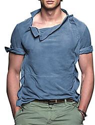 preiswerte -Herrn Solide Druck T-shirt Alltag Blau / Grün
