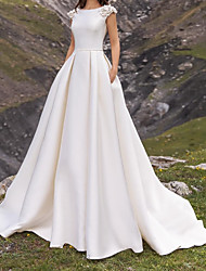 cheap -A-Line Wedding Dresses Jewel Neck Sweep / Brush Train Satin Cap Sleeve Simple with Appliques 2020