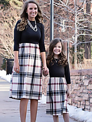 cheap -Mommy and Me Vintage Sweet Geometric Color Block Print Long Sleeve Knee-length Dress Black
