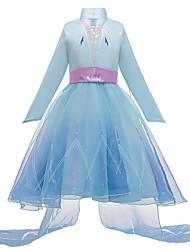 cheap -Princess Elsa Dress Flower Girl Dress Girls' Movie Cosplay A-Line Slip Vacation Dress Blue Dress Children's Day Masquerade Tulle Polyester