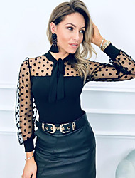 cheap -Women's Polka Dot Blouse Daily Going out Black