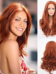 cheap -Synthetic Lace Front Wig Body Wave Free Part Lace Front Wig Long Auburn Synthetic Hair 18-26 inch Women's Heat Resistant Synthetic Easy dressing Brown / Natural Hairline / Natural Hairline