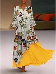 cheap -Women's Swing Dress Maxi long Dress Yellow Long Sleeve Color Block V Neck Hot M L XL XXL 3XL 4XL 5XL / Plus Size / Plus Size