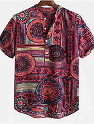 cheap -Men's Geometric Shirt Daily Round Neck Button Down Collar Red / Yellow / Green / Short Sleeve