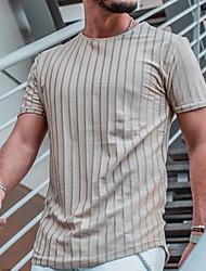 halpa -Miesten Raidoitettu Painettu T-paita Päivittäin Harmaa