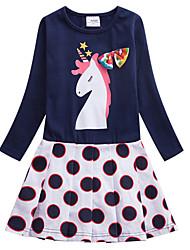 cheap -Kids Girls' Active Sweet Blue & White Unicorn Polka Dot Galaxy Cartoon Print Long Sleeve Knee-length Dress Royal Blue
