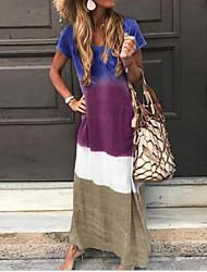 cheap -Women's Shift Dress Maxi long Dress - Short Sleeves Color Block Summer Casual Chinoiserie 2020 Wine Blue Purple Green S M L XL XXL