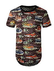 preiswerte -Herrn Geometrisch Druck T-shirt Grundlegend Alltag Purpur / Gelb / Grün / Marineblau