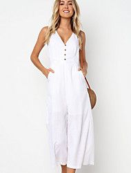 cheap -Women's White Black Khaki Wide Leg Jumpsuit Onesie, Solid Colored M L XL