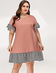 cheap -Women's A Line Dress - Short Sleeves Striped Solid Color Patchwork Summer Casual Elegant Daily Going out Flare Cuff Sleeve 2020 Blushing Pink L XL XXL XXXL XXXXL