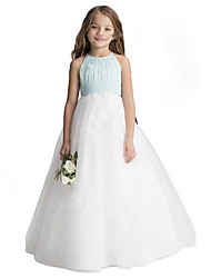 cheap -A-Line Floor Length Wedding / Party Flower Girl Dresses - Chiffon / Tulle Sleeveless Jewel Neck with Ruffles