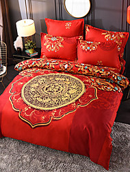 cheap -4 Pieces Chinoiserie Red Duvet Cover Set Elegant Floral Pattern Brushed Comfortable Beddings