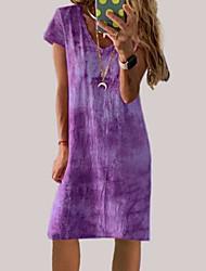 ieftine -Pentru femei Rochie A-line Rochii Lungime Genunchi - Mânecă scurtă Cravată Vară Casual 2020 Albastru piscină Mov Gri S M L XL XXL XXXL
