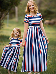 cheap -Mommy and Me Boho Sweet Blue & White Striped Color Block Print Short Sleeve Knee-length Dress Blue