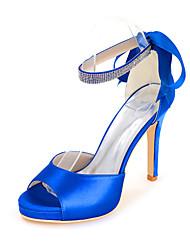 cheap -Women's Wedding Shoes Stiletto Heel Open Toe Minimalism Wedding Party & Evening Satin Sparkling Glitter Ribbon Tie Solid Colored Summer White Black Purple