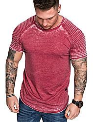 cheap -Men's T shirt Solid Colored Asymmetric Short Sleeve Daily Tops Basic Streetwear Blue Red Khaki