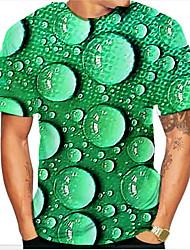 Недорогие -Муж. Графика 3D-печати С принтом Футболка Классический Повседневные Зеленый