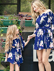 cheap -Mommy and Me Boho Sweet Floral Print Half Sleeve Above Knee Dress Blue