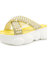 cheap -Women's Slippers & Flip-Flops 2020 Spring & Summer Creepers Open Toe Casual Minimalism Party & Evening Beach Imitation Pearl Solid Colored PU White / Black / Yellow