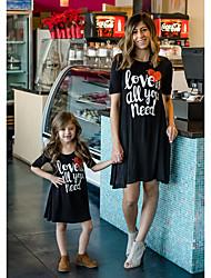 cheap -Mommy and Me Basic Sweet Letter Short Sleeve Regular Above Knee Dress Black