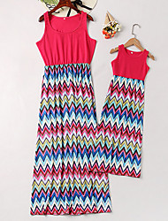 cheap -Mommy and Me Vintage Sweet Striped Color Block Print Sleeveless Maxi Dress Red