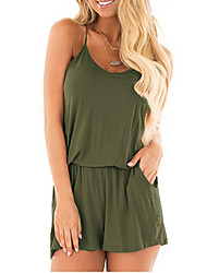 cheap -Women's Ordinary Wine Black Army Green Romper Onesie, Solid Colored Drawstring S M L