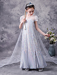 cheap -Princess Elsa Dress Flower Girl Dress Girls' Movie Cosplay A-Line Slip Vacation Dress White Dress Children's Day Masquerade Tulle Polyester Sequin