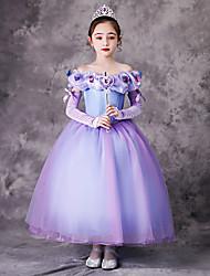 cheap -Princess Rapunzel Dress Flower Girl Dress Girls' Movie Cosplay A-Line Slip Vacation Dress Purple Dress Children's Day Masquerade Tulle Polyester