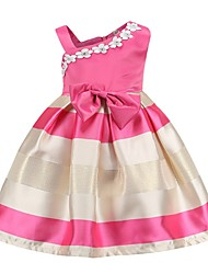 cheap -Kids Toddler Girls' Sweet Cute Blue & White Geometric Beaded Bow Sleeveless Knee-length Dress Blushing Pink