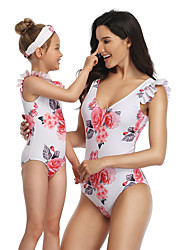 cheap -2 Piece Mommy and Me Active Sweet Rose Floral Color Block Graphic Backless Ruffle Print Sleeveless Short Above Knee Swimwear White