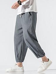 cheap -Men's Sporty Chinoiserie Loose Cotton Chinos Pants - Solid Colored Drawstring Comfort Black Blue Dark Gray US32 / UK32 / EU40 / US34 / UK34 / EU42 / US38 / UK38 / EU46