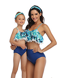 cheap -2 Piece Mommy and Me Active Sweet Tropical Leaf Floral Geometric Color Block Backless Cut Out Print Sleeveless Short Above Knee Swimwear Blue