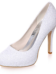 cheap -Women's Wedding Shoes Spring / Summer Stiletto Heel Round Toe Minimalism Wedding Party & Evening Sequin Solid Colored Synthetics White