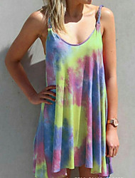 cheap -Women's Plus Size Mini Sheath Dress - Sleeveless Tie Dye Summer Strap Elegant 2020 Purple Yellow Fuchsia Green Gray M L XL XXL XXXL XXXXL XXXXXL