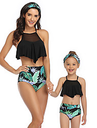 cheap -2 Piece Mommy and Me Active Sweet Tropical Leaf Floral Geometric Color Block Ruffle Patchwork Print Sleeveless Short Above Knee Swimwear Black