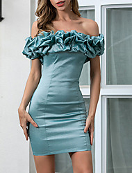 cheap -Women's Bodycon Dress - Sleeveless Solid Color Ruffle Summer Off Shoulder Elegant Sexy Party Daily Skinny 2020 Green S M L