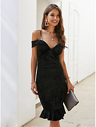 cheap -Women's Sheath Dress Knee Length Dress - Sleeveless Solid Color Ruched Summer Elegant Sexy Party 2020 Black XXS XS S M