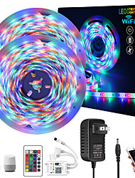 cheap -Intelligent Dimming App Control Flexible Led Strip Lights Waterproof 10M (2x5M) 2835 RGB SMD IR 24 Key Controller with Installation Package 12V 2A Adapter Kit