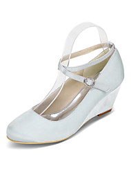 cheap -Women's Wedding Shoes Wedge Heel Round Toe Minimalism Sweet Wedding Party & Evening Satin Solid Colored White Black Purple