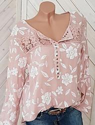 cheap -Women's Floral Print Blouse Causal Black / Blue / Red / Yellow / Blushing Pink / Gray
