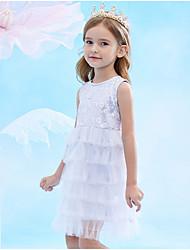 abordables -Enfants Fille Couleur Pleine Robe Bleu clair