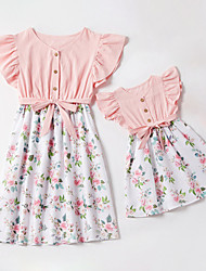 cheap -Mommy and Me Vintage Sweet Floral Color Block Ruffle Print Drawstring Sleeveless Above Knee Dress Blushing Pink