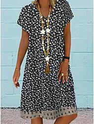 cheap -Women's Shift Dress - Short Sleeves Floral Summer Elegant 2020 Black Blushing Pink Silver S M L XL XXL XXXL XXXXL XXXXXL